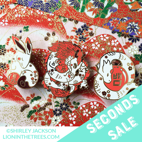 Seconds Sale Chinese Zodiac Series 3 - Red and White Enamel Pins