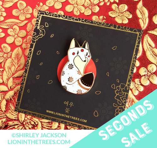 Seconds Sale Fox Flowers - White Enamel Pin