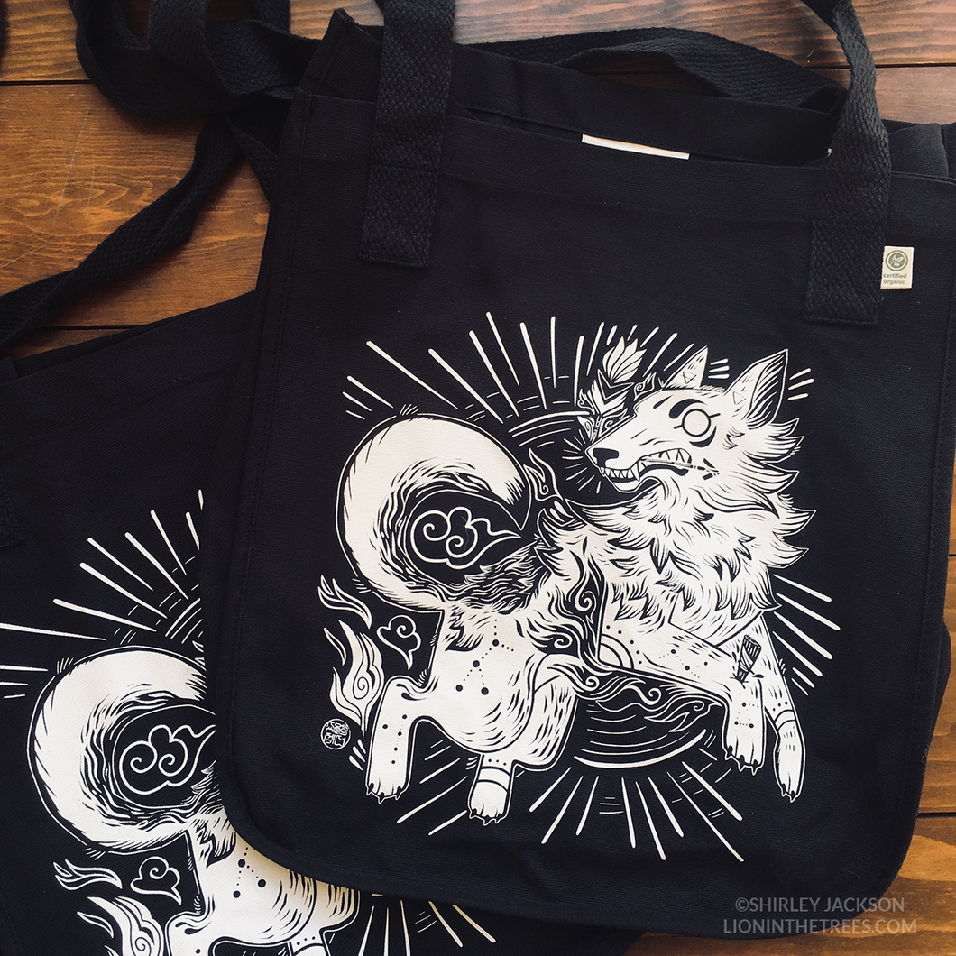 Organic Year of the Coyote Market Tote Bag