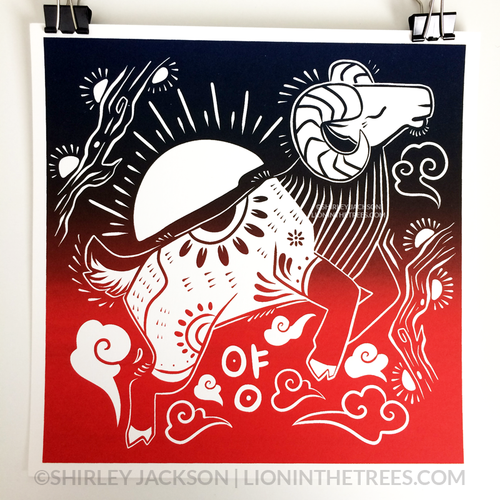Year of the Sheep - Chinese Zodiac - Limited Edition Screen Print