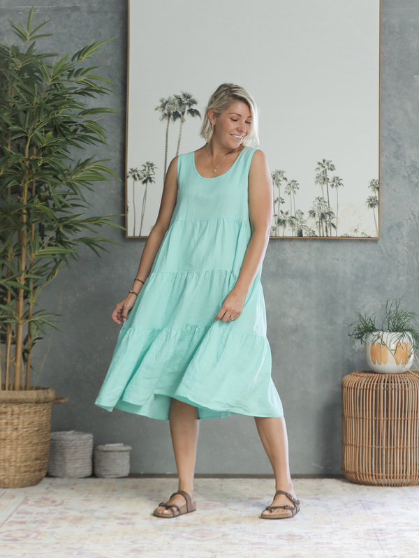Sahana Linen Dress - Aqua