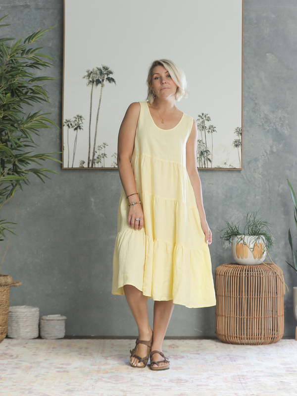 Sahana Linen Dress - Lemon