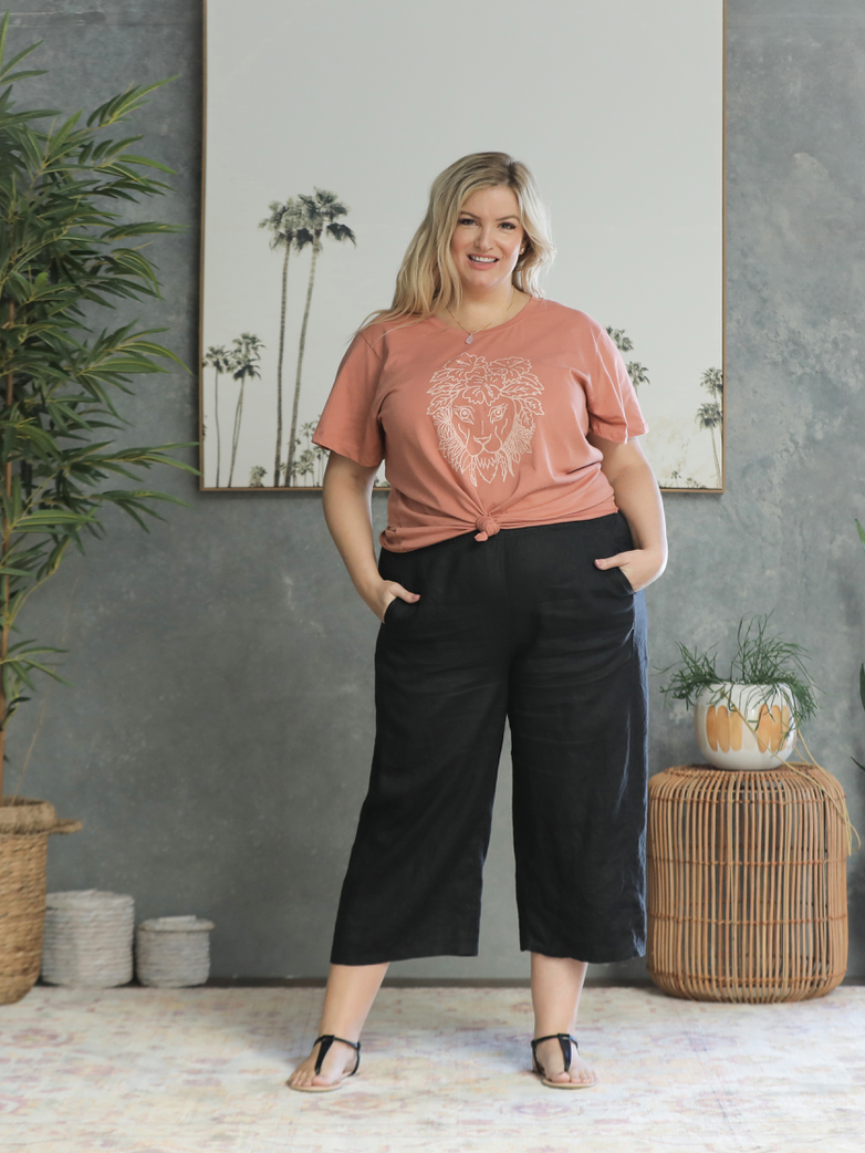 Adra Linen Pants - Black