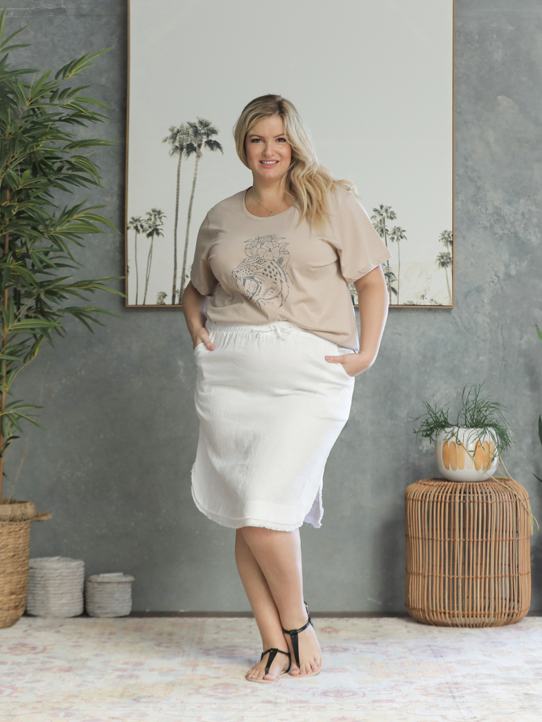 Zuri Linen Skirt - White