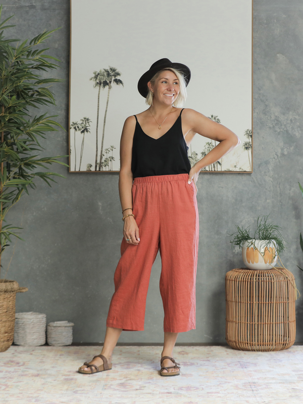 Adra Linen Pants - Burnt Orange