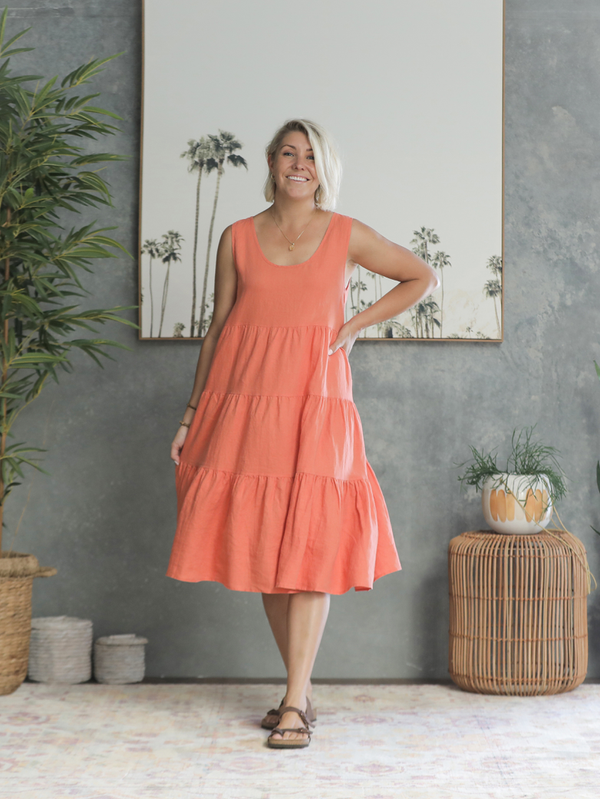 Sahana Linen Dress - Melon