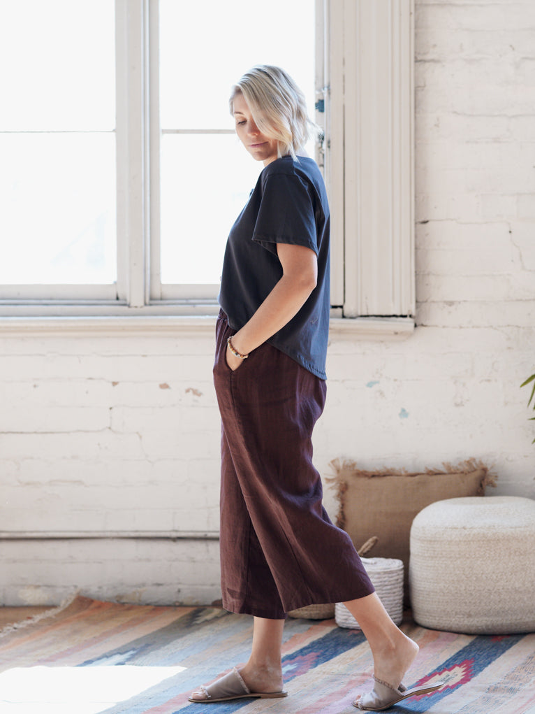 Chocolate Linen - Wide Leg