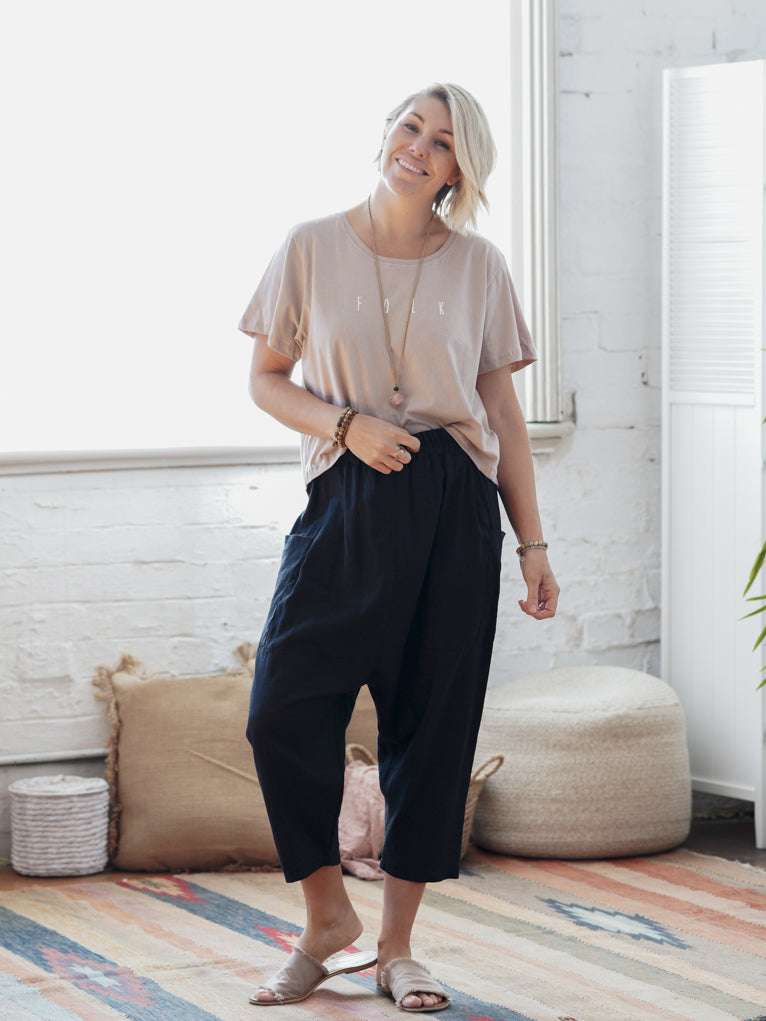 Harem Pants - Black Linen