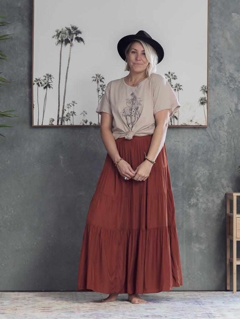 Daisy Maxi Skirt - Rust