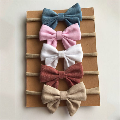 Newborn kids Bow Nylon Headbands