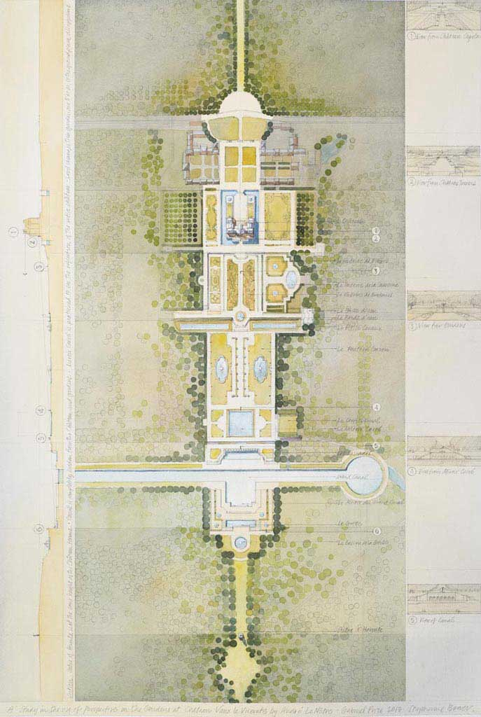 Château de Vaux-le-Vicomte (plan, section and perspective concept images) – Maincy