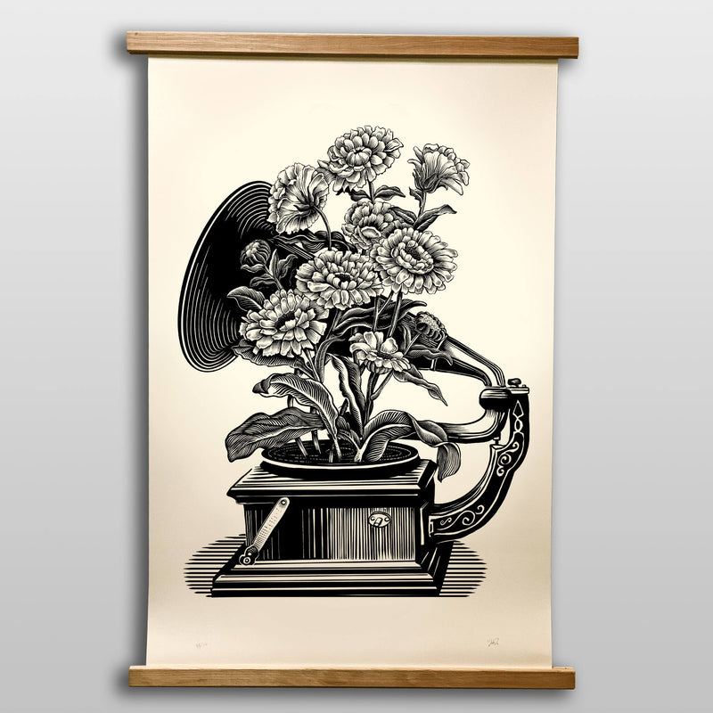 Phonograph Botanical - Large 24x36 Art Print