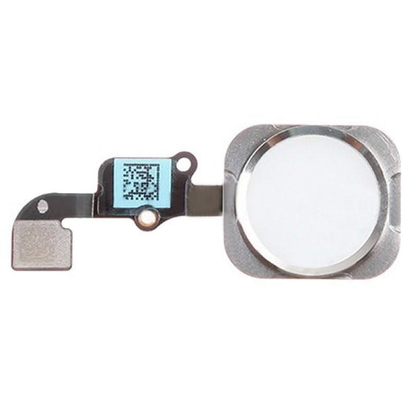 iPhone 6 Home Button Assembly with Flex Cable Ribbon - White - Silver