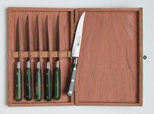 Load image into Gallery viewer, Thiers-Issard Four-Star Elephant Sabatier Knives lisse steak knife set - green stamina