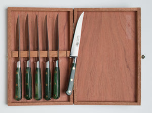 Thiers-Issard Four-Star Elephant Sabatier Knives lisse steak knife set - green stamina