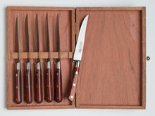Load image into Gallery viewer, Thiers-Issard Four-Star Elephant Sabatier Knives lisse steak knife set - red stamina