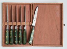 Load image into Gallery viewer, Thiers-Issard Four-Star Elephant Sabatier Knives master steak knife set - green stamina
