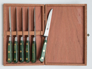 Thiers-Issard Four-Star Elephant Sabatier Knives master steak knife set - green stamina