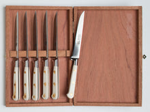 Load image into Gallery viewer, Thiers-Issard Four-Star Elephant Sabatier Knives master steak knife set - white micarta