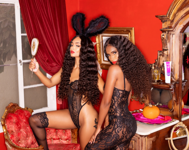 Two girls wearing curly hair extensions with curly bundles wefts closures frontals lace wig lace lingierie black bunny ears with mirror halloween looks sexy
