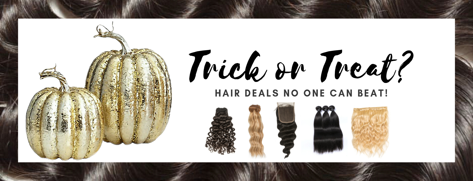 Hair Are Us halloween with gold pumpkins displays pony tails hair extensions closures bundles blond weft hair with highlights for halloween looks
