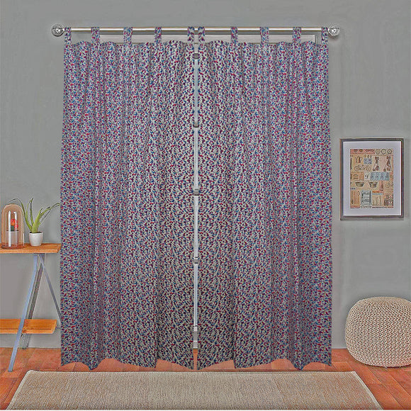 Floral Curtain Pair 7ft - Pink