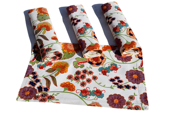 Cotton Canvas Mat Set- Floral White