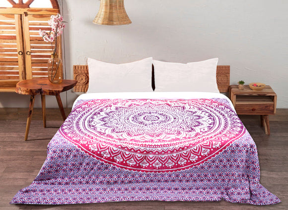 200 GSM Double Cotton Quilt Pink and Orange