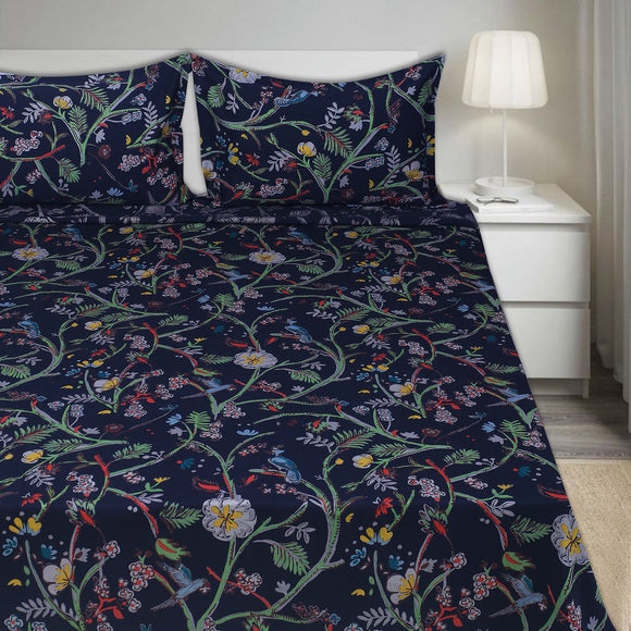 200 TC Cotton Satin Bird Print All Sizes -Dark Blue
