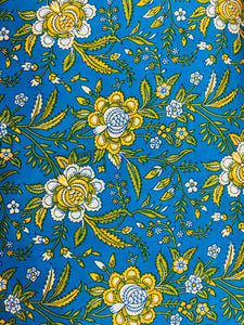 Cotton Camrik 44 inches width-Blue and Yellow