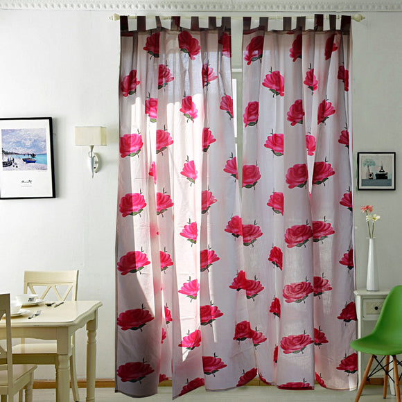 All is Rosy Curtain Pair-Curtains-Saryu homes-7ft Door-Saryuhomes