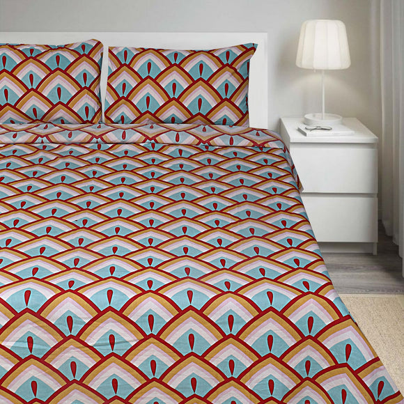 Arch Premium Green & Orange-Bedsheets-Saryu Homes-Saryuhomes