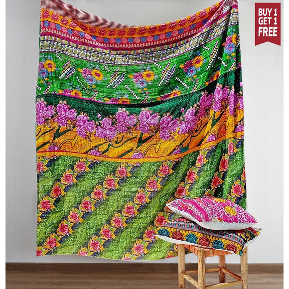 Boho Vintage Kantha Quilt with 2 pillow covers- Full Size-Bed Cover-Saryu Homes-Saryuhomes