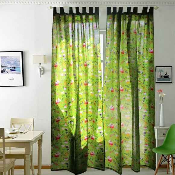 Breezy Voile Curtain Pair Green-Curtains-Saryu homes-7ft Door-Saryuhomes