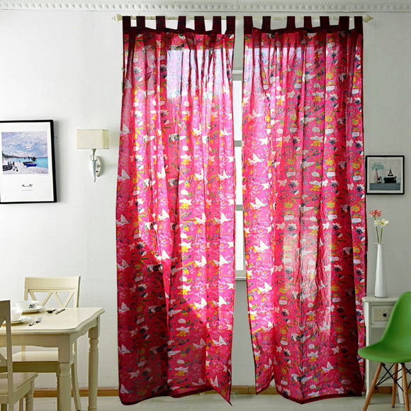 Breezy Voile Curtain Pair Pink-Curtains-Saryu Homes-7ft Door-Saryuhomes