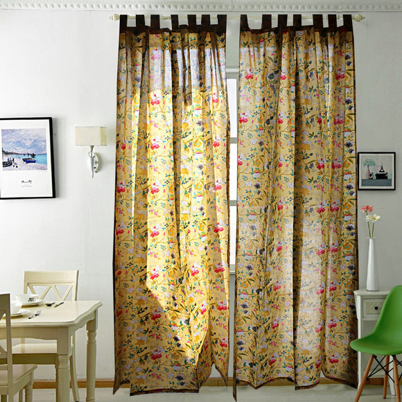 Breezy Voile Curtain Pair Yellow-Curtains-Saryu Homes-7ft Door-Saryuhomes