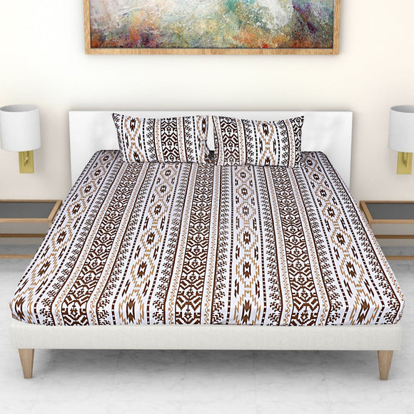 Ekat Print-Brown-Bedsheets-Saryu Homes-Saryuhomes