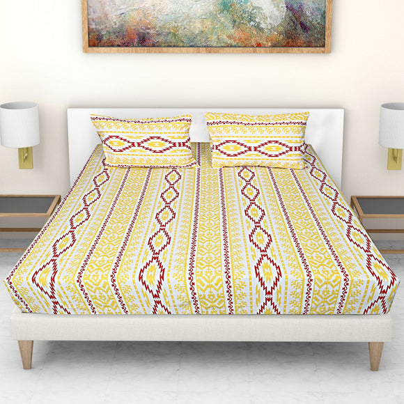 Ekat Print-Yellow Red-Bedsheets-Saryu Homes-Saryuhomes