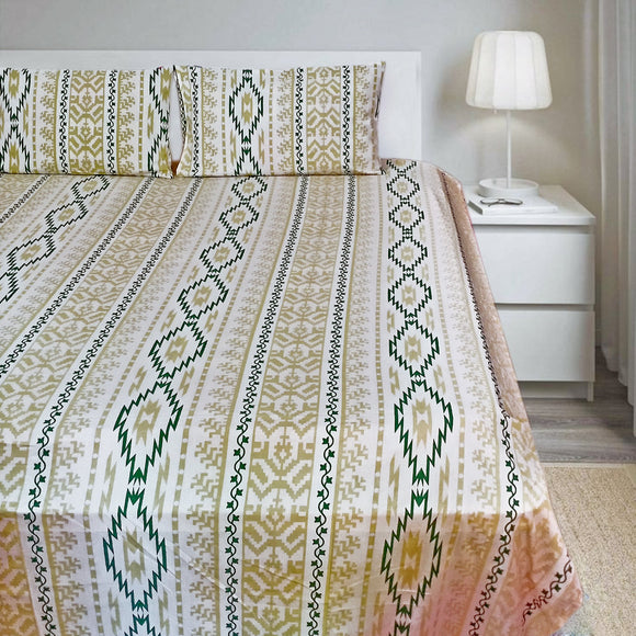 Ekat Print-YellowGreen-Bedsheets-Saryu Homes-Saryuhomes