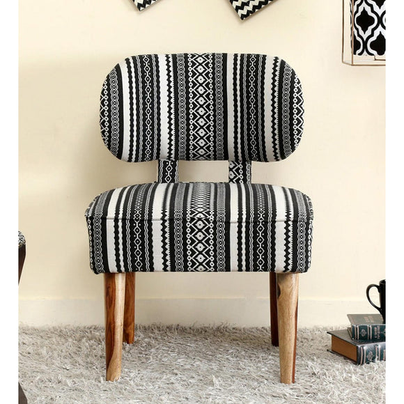 Fabric Upholstered Wooden Chair-Black-Furniture-Coronation-Saryuhomes