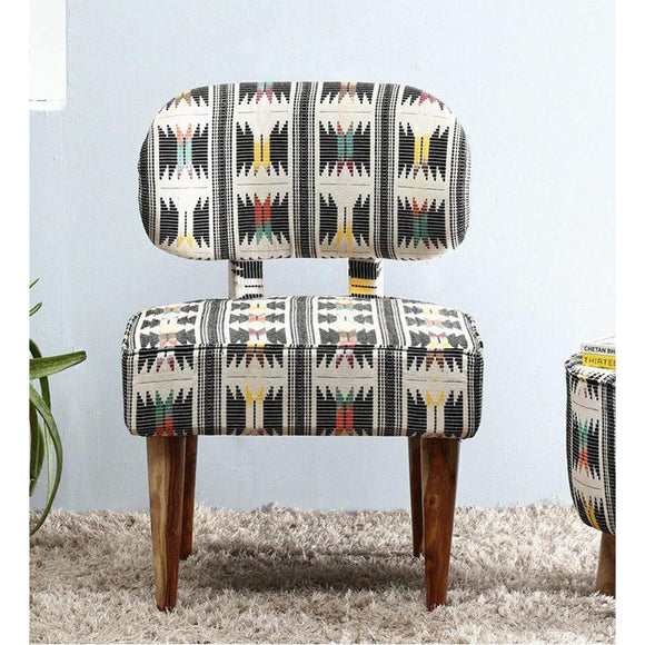 Fabric Upholstered Wooden Chair-Black Yellow-Furniture-Coronation-Saryuhomes