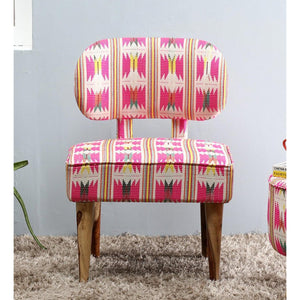 Fabric Upholstered Wooden Chair-Pink