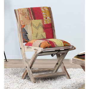 Foldable Kantha Chair-Orange