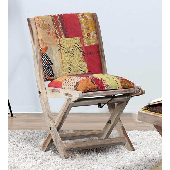Foldable Kantha Chair-Orange-Furniture-Coronation-Saryuhomes