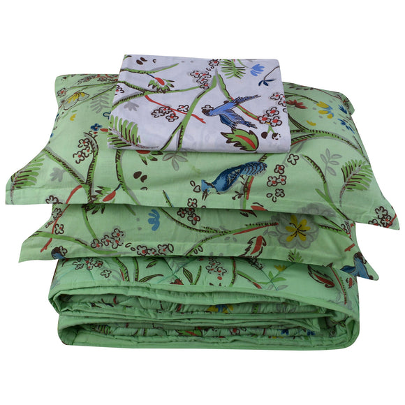 King Bedding Set- Bird Green-Bedding Set-Saryu Homes-Saryuhomes