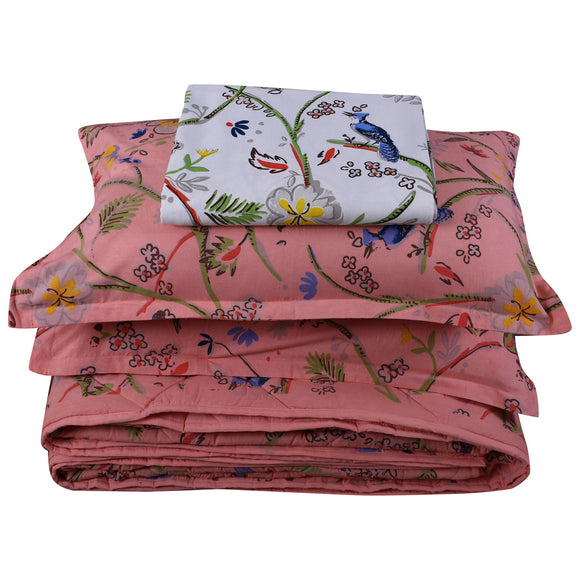 King Bedding Set- Bird Pink-Bedding Set-Saryu Homes-Saryuhomes