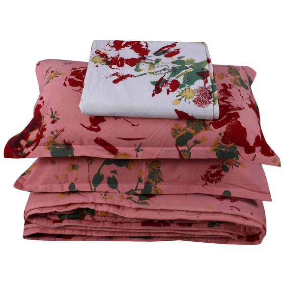 King Bedding Set- Floral Peach-Bedding Set-Saryu Homes-Saryuhomes