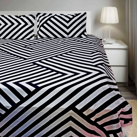 Stripes King Bedsheet with Bordered Pillow Cover - Black-Bedsheets-Saryu Homes-Saryuhomes