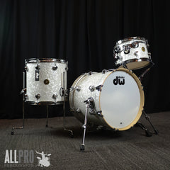 DW Jazz Series 3 Pc Drum Set Ultra White Marine FinishPly
