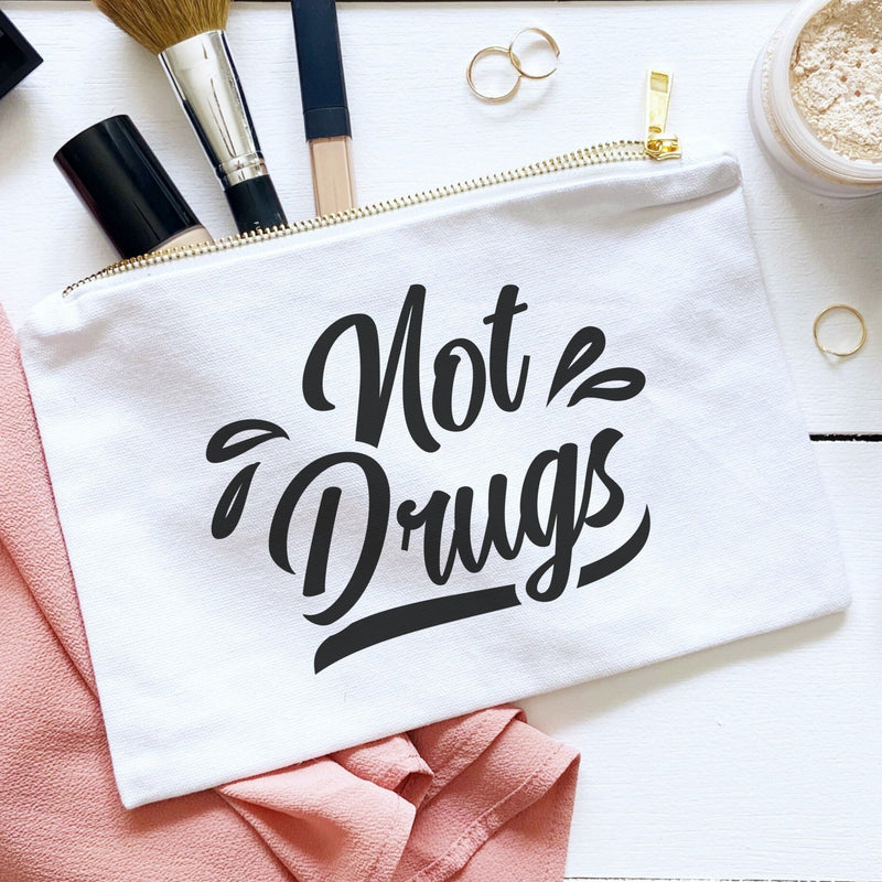 Not drugs white canvas make-up bag with gold zipper